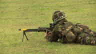 Soldier in the army shooting gun - HD & PAL video