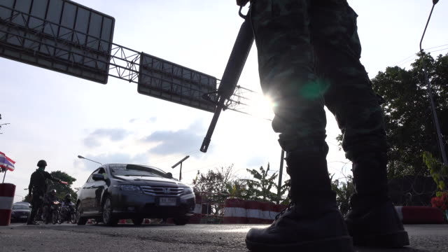 Soldier in the checkpoint,Silhouette background video