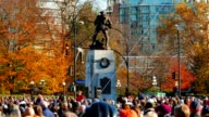 Soldier Memorial Cenotaph and Very Large Crowd on Remembrance Day video