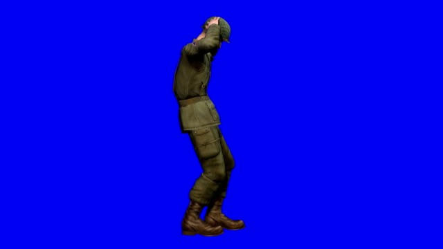 USA Soldier Surrendering Blue Screen (Loopable) video