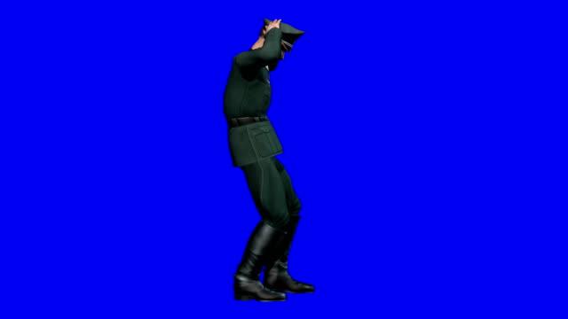 Soldier Surrendering Blue Screen (Loopable) video