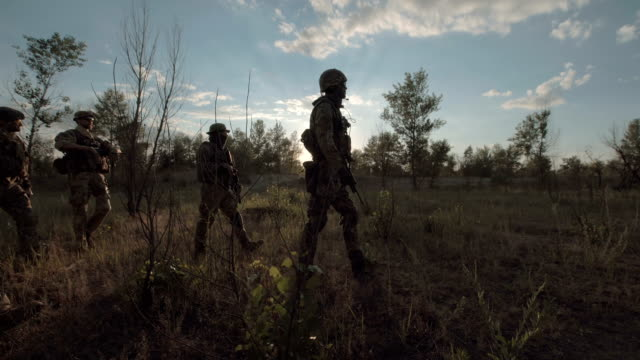 Soldiers standing on field video