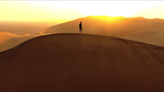Solitude at dawn in the desert video