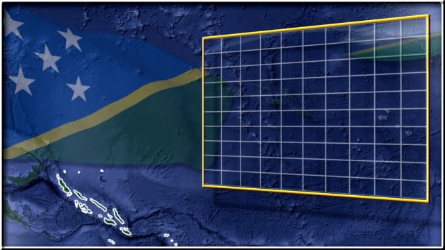 Solomon Islands flag and map animation FULL-HD video