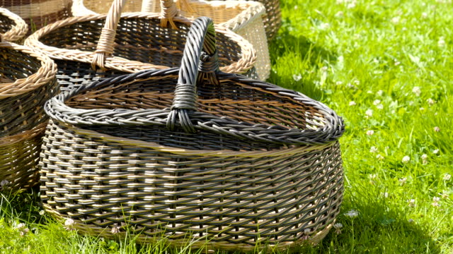 SOme of the weaved baskets on the display video