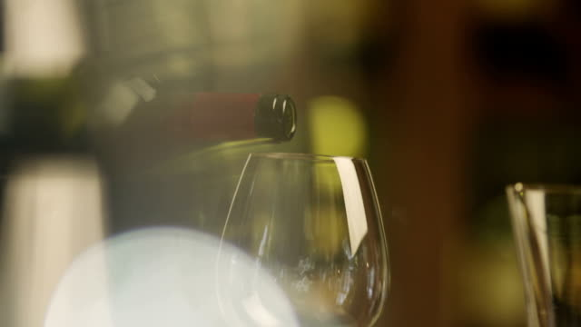 Sommelier Filling Glass with Wine in Restaurant. Close-UP. video
