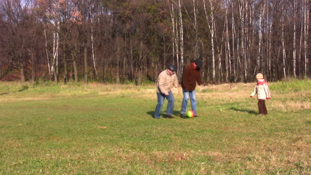 Son, father and grandfather play football in park video