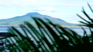 Sorrento coastline, gulf of Naples and Mount Vesuvius on the background, yachts in front video