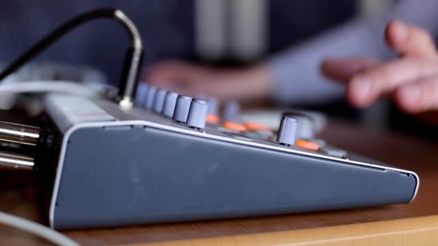 Sound engineer working in recording studios. video