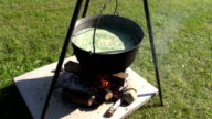 Soup cooking in medieval fair video