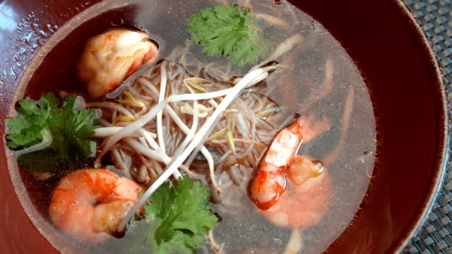 soup with seafood and soy sprouts video