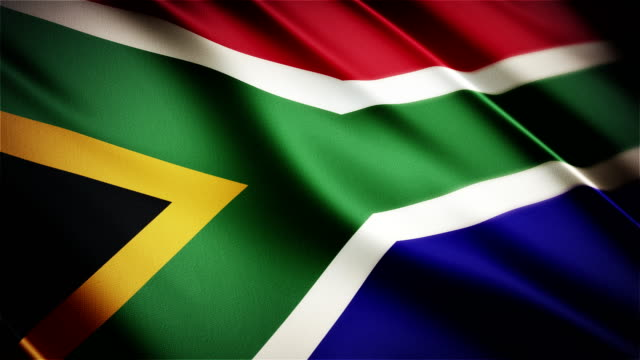 South Africa realistic national flag seamless looped waving animation video