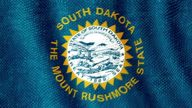 South Dakota flag waving animation video