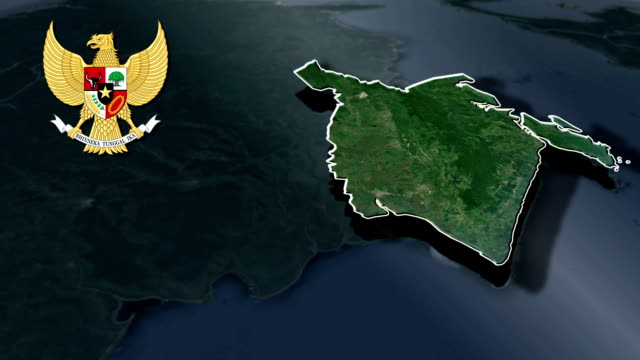 South Kalimantan with Coat Of Arms Animation Map video