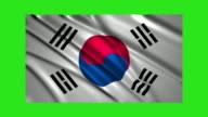 South Korea flag waving,loopable on green screen video