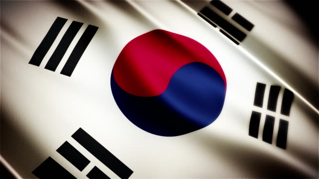 South Korea realistic national flag seamless looped waving animation video