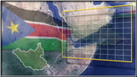 South Sudan flag and map animation video