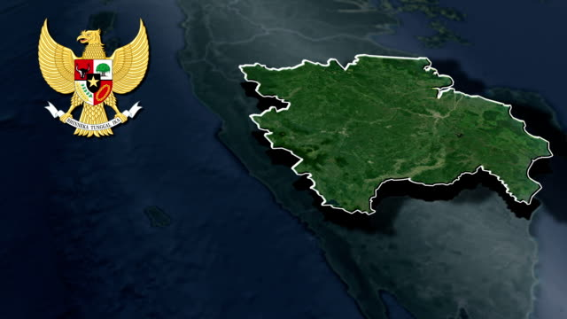 South Sumatra with Coat Of Arms Animation Map video