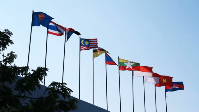 Southeast Asia national flags in Chiang Mai Province Thailand video