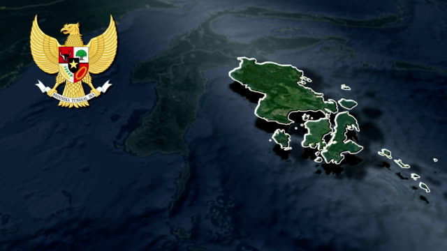 Southeast Sulawesi with Coat Of Arms Animation Map video