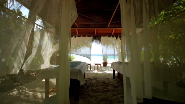 spa at beach with curtains video