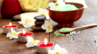 Spa salt scrub, massage oil and candles video