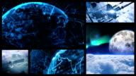 Space contact. Split screen. video
