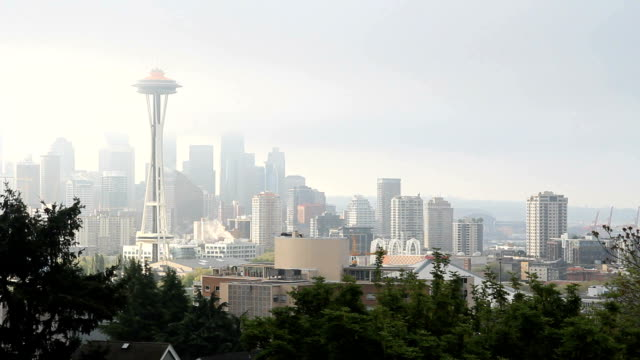 Space Needle Seattle, Morning Fog video