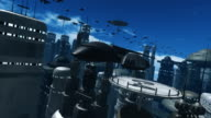 Space Ship Flying towards Camera in a Future City video