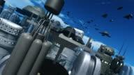 Space Ship Lift Off in a Futuristic City video