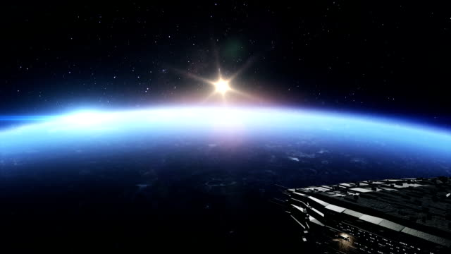 Space ships above earth video