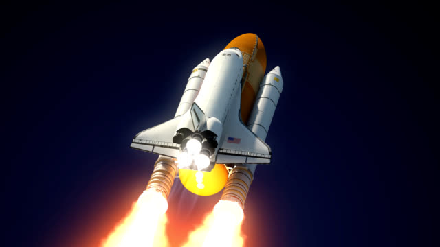 Space Shuttle Solid Rocket Boosters Separation. video