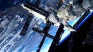 Station spatiale et navette spatiale En orbite autour de la terre - Vidéo