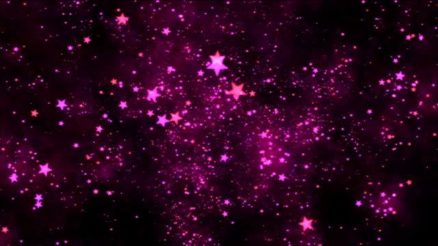 Space Travel through Star Shapes - Loop Purple video