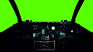 Spaceship Cockpit in a Pilot Point of view on a Green Screen Background video