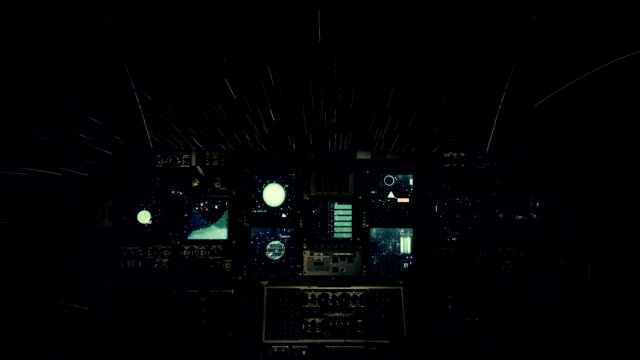 Spaceship Cockpit in a Pilot Point of view Traveling on a Speed of Light Through the Stars video