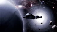 Spaceship flying out of a stargate video