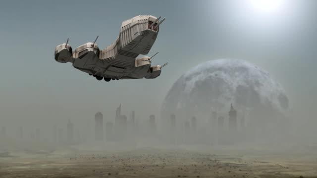 Spaceship landing before a futuristic city video