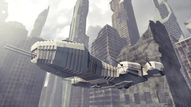 Spaceship taking off a damaged city video