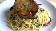 spaghetti with grilled mackerel video