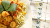 4K : Spaghetti with sausage video