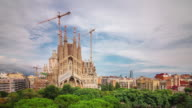 spain barcelona main cathedral sagrada familia construction 4k time lapse video