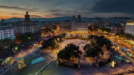 spain barcelona sunset till night placa de catalunya roof top panorama 4k time lapse video