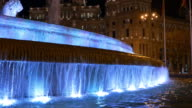 spain blue night light madrid plaza de la cibeles fountain 4k video