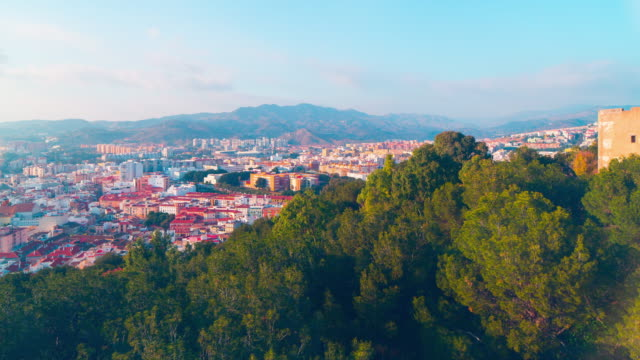 spain colored malaga city panorama from castle 4k time lapse video