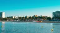Spain, Costa Dorada, Salou City, summer morning beach video