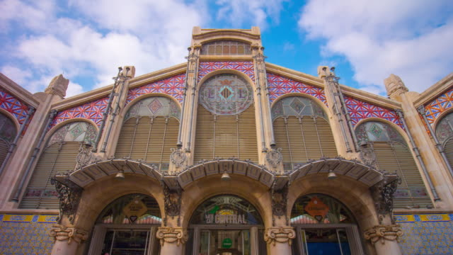 spain day light valencia city central market 4k time lapse video