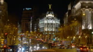 spain madrid night light gran via metropolis building traffic view 4k video