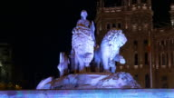 spain madrid night light main fountain of plaza de la cibeles 4k video