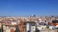 spain madrid sunny day panoramic city view from the roof top 4k video